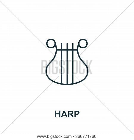 Harp Icon From Music Collection. Simple Line Harp Icon For Templates, Web Design And Infographics