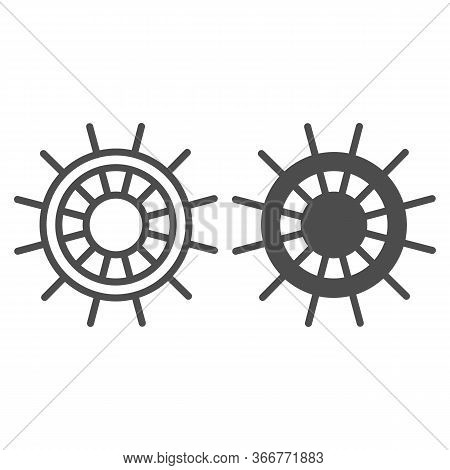 Boat Steering Wheel Line And Solid Icon, Ship Emblem Symbol, Ship Wheel Vector Sign On White Backgro
