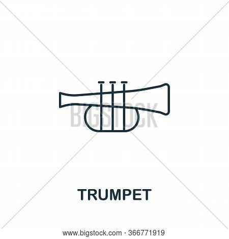 Trumpet Icon From Music Collection. Simple Line Trumpet Icon For Templates, Web Design And Infograph
