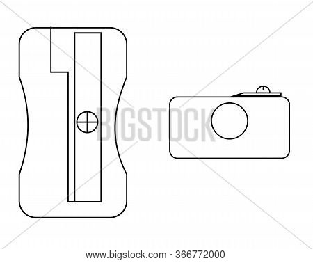 Simple Icon. Pencil Sharpener. Set., .symbol, Outline