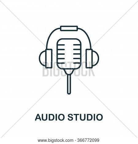 Audio Studio Icon From Music Collection. Simple Line Audio Studio Icon For Templates, Web Design And