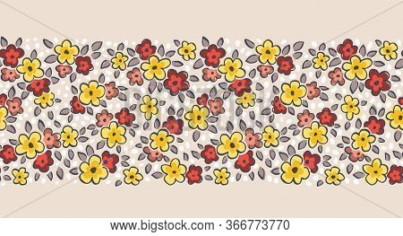 Hand Drawn Artistic Naive Daisy Flowers On Beige Background Vector Seamless Pattern Border. Blob Blo