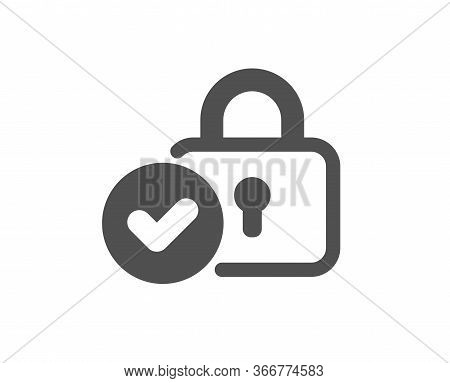 Verified Locker Icon. Approved Protection Lock Sign. Confirmed Security Symbol. Classic Flat Style.