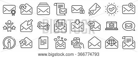 Newsletter, Email Document, Correspondence Icons. Mail Message Line Icons. Received Mail, Secure Mes