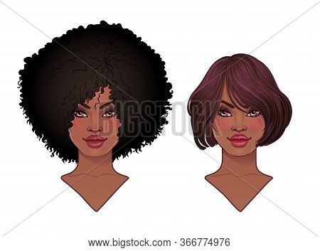 Two African American Pretty Girls. Vector Illustration Of Black Woman With Afro Hairstyle And Neck.