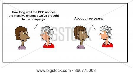 Color Cartoon Of Woman Executive Tells Another Woman Executive That Ceo Will Not Notice Their Change