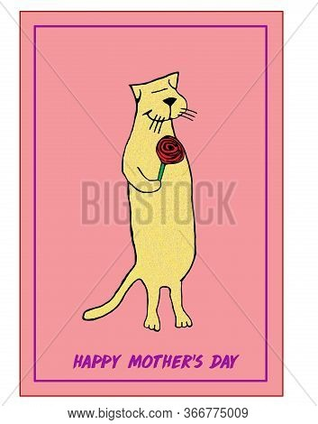 Color Cartoon Of A Cat Giving A Red Rose To Mother Signifiying Happy Mothers Day