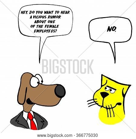 Color Cartoon Showing A Male Dog Business Man Wanting To Gossip And Share A Vicious Rumor About One