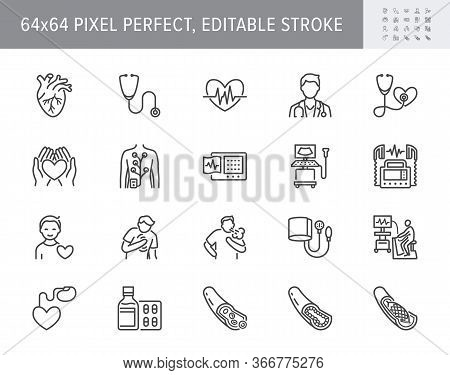 Cardiology Line Icons. Vector Illustration Included Icon As Heart Attack, Ecg, Doctor, Pacemaker, De
