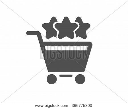 Shopping Cart Stars Rating Icon. Customer Rank Sign. Supermarket Ranking Symbol. Classic Flat Style.