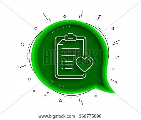 Medical Survey Line Icon. Chat Bubble With Shadow. Hospital Patient History Sign. Thin Line Patient
