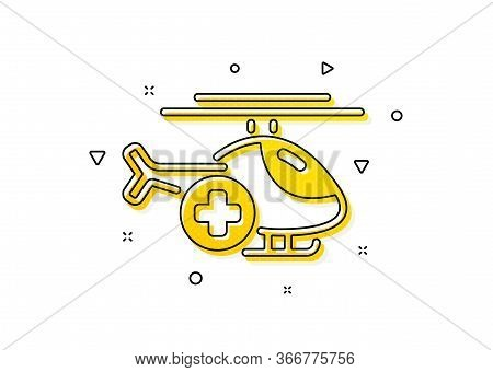 Emergency Sky Transport Sign. Medical Helicopter Icon. Yellow Circles Pattern. Classic Medical Helic