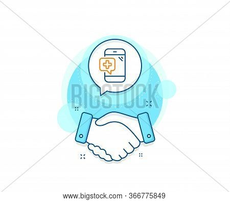 Mobile Medical Help Sign. Handshake Deal Complex Icon. Medicine Phone Line Icon. Agreement Shaking H
