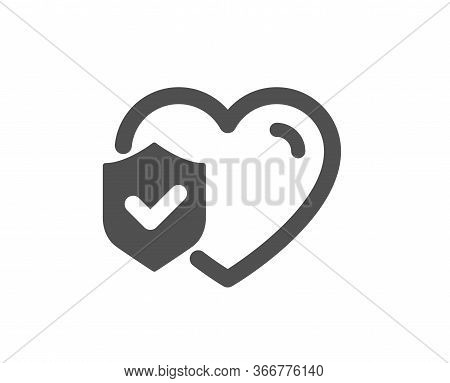 Life Insurance Icon. Health Coverage Sign. Protection Policy Symbol. Classic Flat Style. Quality Des