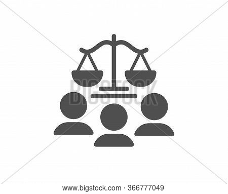 Court Jury Icon. Justice Scales Sign. Judgement Law Symbol. Classic Flat Style. Quality Design Eleme
