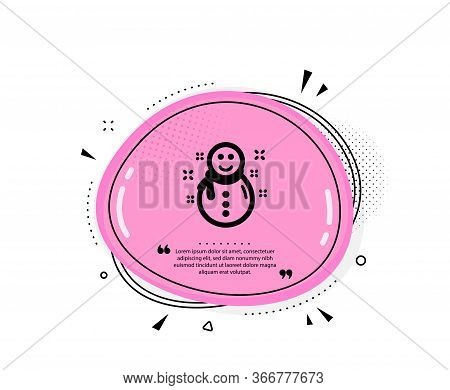 Christmas Snowman Icon. Quote Speech Bubble. New Year Sign. Winter Holiday Symbol. Quotation Marks.