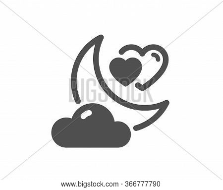 Love Night Icon. Valentines Day Evening Sign. Couple Relationships Symbol. Classic Flat Style. Quali