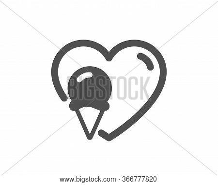 Ice Cream Love Icon. Vanilla Sundae Cone Sign. Frozen Summer Dessert Symbol. Classic Flat Style. Qua