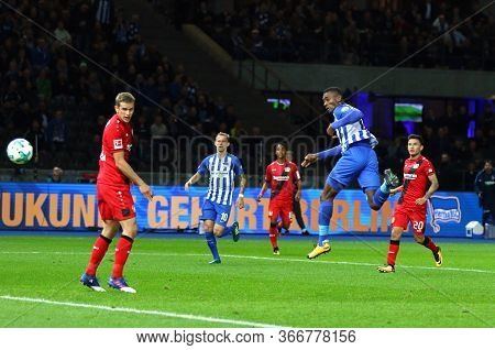 Berlin, Germany - September 20, 2017: Salomon Kalou Of Hertha Bsc Berlin Scores A Goal During The Ge