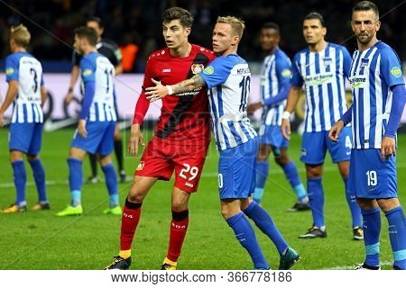 Berlin, Germany - September 20, 2017: Kai Havertz Of Bayer 04 Leverkusen (in Red) Fights For A Ball