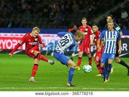 Berlin, Germany - September 20, 2017: Julian Brandt Of Bayer 04 Leverkusen (l) Scores A Goal During