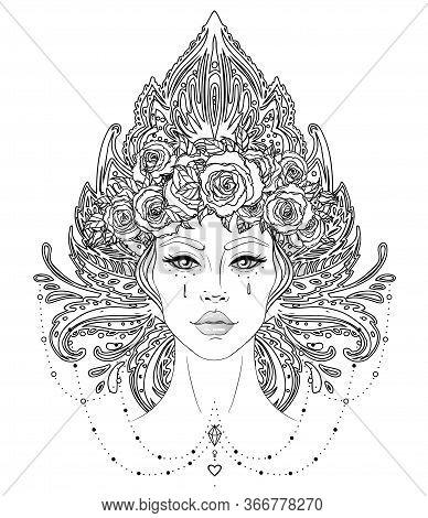 Tribal Fusion Boho Diva. Beautiful Asian Divine Girl With Ornate Crown, Kokoshnik Inspired. Bohemian