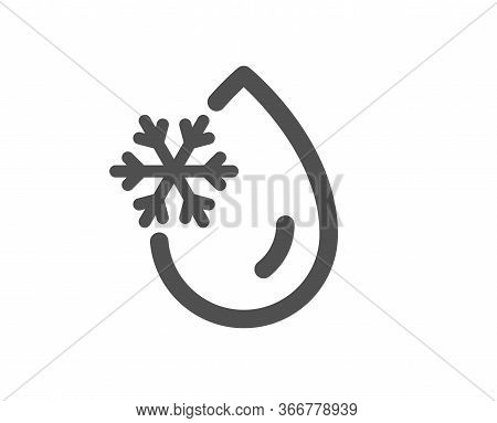 Freezing Water Icon. Freeze Cold Temperature Sign. Fridge Function Symbol. Classic Flat Style. Quali