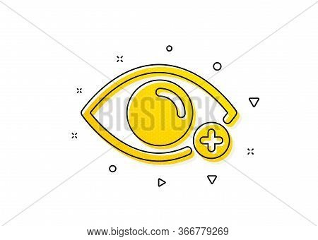 Eye Diopter Sign. Farsightedness Icon. Optometry Vision Symbol. Yellow Circles Pattern. Classic Fars