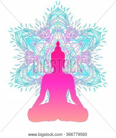 Chakra Concept. Inner Love, Light And Peace. Buddha Silhouette In Lotus Position Over Colorful Ornat