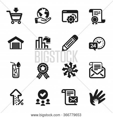 Set Of Business Icons, Such As Versatile, Increasing Percent. Certificate, Approved Group, Save Plan