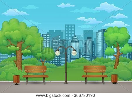 Summer, Spring Day Park Scene. Two Benches With Trash Cans And Street Lamp On An Asphalt Park Trail