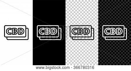 Set Line Cannabis Molecule Icon Isolated On Black And White Background. Cannabidiol Molecular Struct