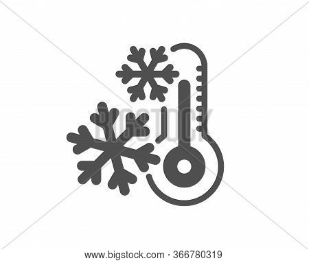 Freezing Thermometer Icon. Ac Cold Temperature Sign. Fridge Function Symbol. Classic Flat Style. Qua