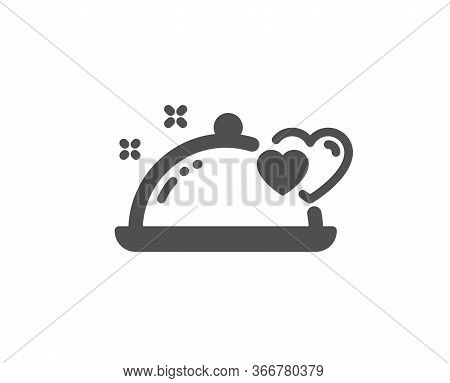 Romantic Dinner Icon. Valentines Day Restaurant Food Sign. Couple Relationships Symbol. Classic Flat