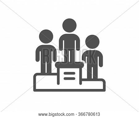 Business Podium Icon. Employee Nomination Sign. Teamwork Award Symbol. Classic Flat Style. Quality D