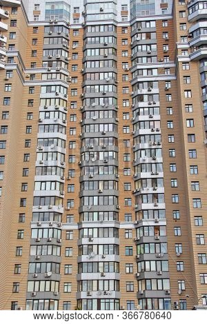 Kyiv / Ukraine. 09 March 2019: Apartment Building. View Of Multistory Modern Blocks Of Flat In Kyiv.