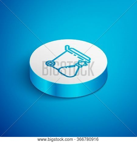 Isometric Line Trash Can And Garbage Bag Icon Isolated On Blue Background. Garbage Bin Sign. Recycle
