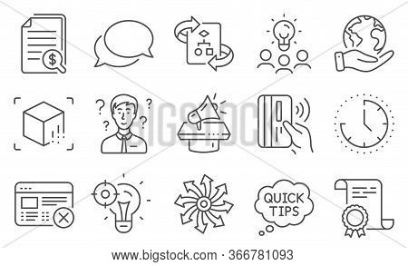 Set Of Technology Icons, Such As Quick Tips, Technical Algorithm. Diploma, Ideas, Save Planet. Augme