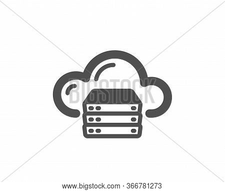 Cloud Computing Server Icon. Internet Data Storage Sign. File Hosting Technology Symbol. Classic Fla