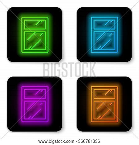 Glowing Neon Line Cleaning Service For Windows Icon Isolated On White Background. Squeegee, Scraper,