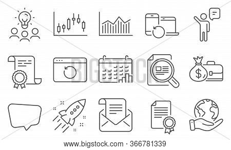 Set Of Education Icons, Such As Chat Message, Certificate. Diploma, Ideas, Save Planet. Mail Newslet