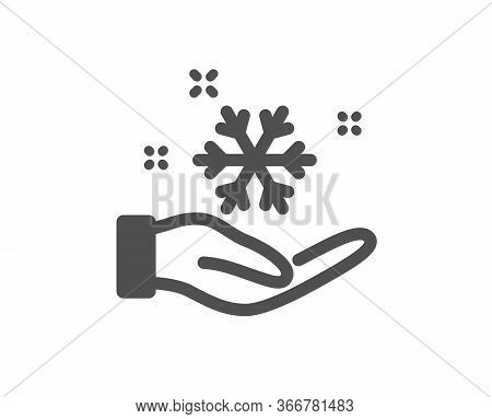 Freezing Hand Icon. Ac Cold Temperature Sign. Fridge Function Symbol. Classic Flat Style. Quality De
