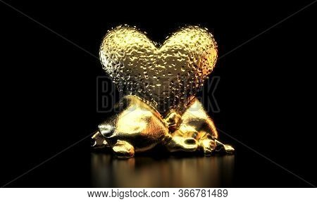 A Close Up View Of A Golden Heart With A Black Background