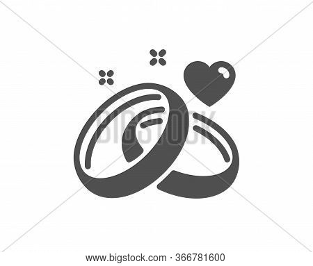 Marriage Rings Icon. Romantic Engagement Or Wedding Sign. Couple Relationships Symbol. Classic Flat