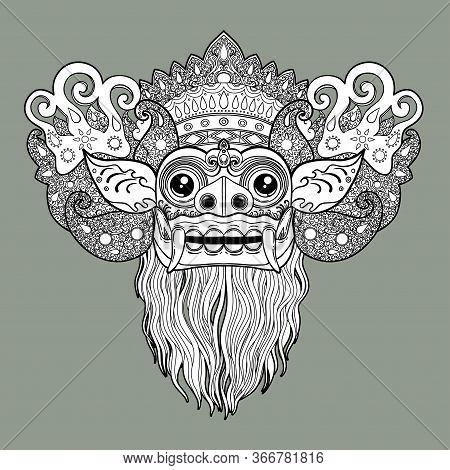 Barong. Traditional Ritual Balinese Mask. Vector Decorative Ornate Outline Illustration Isolated. Hi