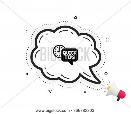 Quick Tips Icon. Quote Speech Bubble. Helpful Tricks Sign. Tutorials Symbol. Quotation Marks. Classi