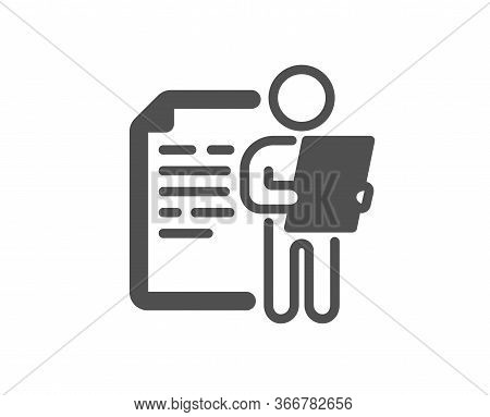 Job Interview Document Icon. Cv File Page Sign. Office Workflow Symbol. Classic Flat Style. Quality