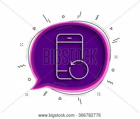 Recovery Phone Line Icon. Chat Bubble With Shadow. Backup Data Sign. Restore Smartphone Information