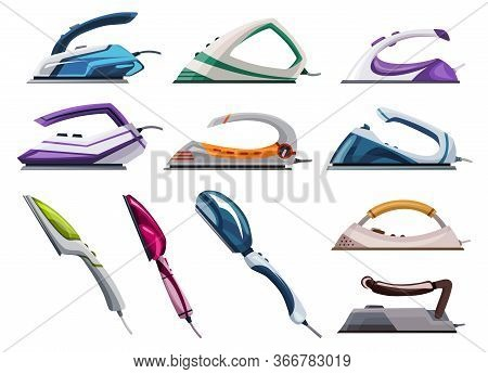 Collection Of Iron Steamers. Smoothing Irons. Vector Iron. Ironing Electric Household Appliance. Ste