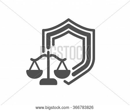 Justice Scales Icon. Judgement Scale Sign. Law Protection Symbol. Classic Flat Style. Quality Design